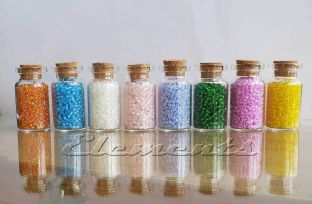 9pc Set of 40 x 22mm Mini Glass Bottles & Colourful Beads